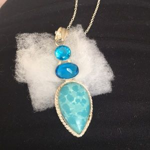 Jewelry - NECKLACE LARIMAR&BLUE TOPAZ PENDANT IN .925 SILVER